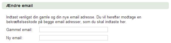 ændre email