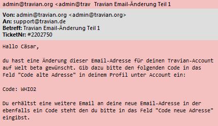 eMailadresse ändern